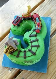 train cake - like this but 2, maybe green butter icing and choc fingers for track, choc mini roll & icing train?