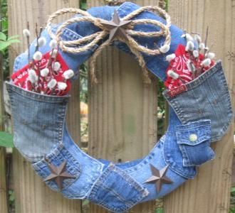 Denim wreath - very casual for the front door or the garden shed!