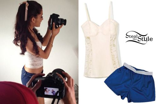 "ariana grande the way outfit | Ariana Grande on set of ""The Way"" – photo by: ariana-grande"