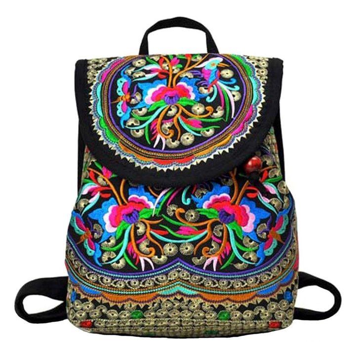 Vintage Women Backpack Handmade Bag Canvas Rucksack Travel Daily Fashion Gift  #VintageWomenBackpackHandmadeBag #Backpack
