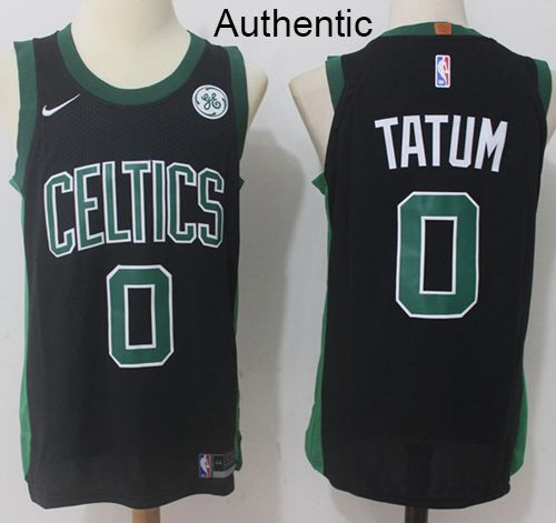 low priced 7e288 733bf Nike Celtics #0 Jayson Tatum Black NBA Authentic Statement ...