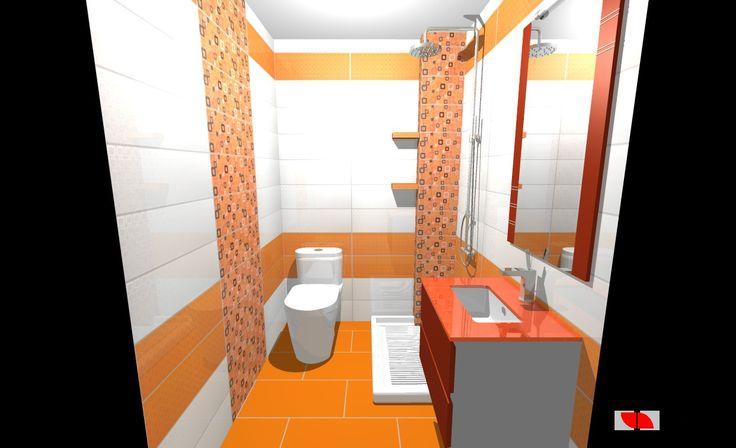 Aseo con inodoro ducha de 100x70 cm con baldas de obra for Aseo con ducha pequeno