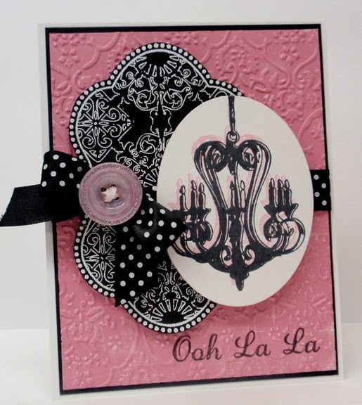 Ooh-la-la Card ~ What to do with all those chandelier stamps/images.