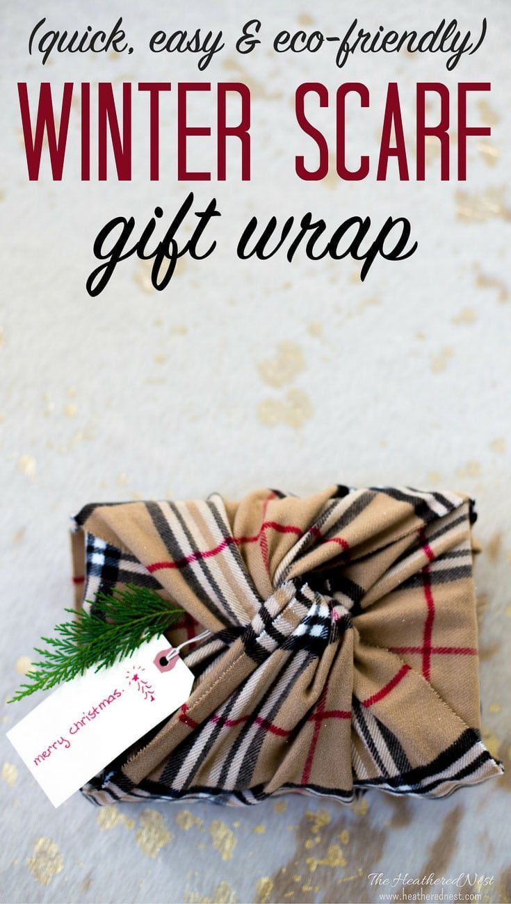 AWESOME Christmas wrapping idea! Not only is it gorgeous, it's eco-friendly | super green! I love unique gift wrapping ideas for Christmas...and this one using a winter scarf is EASY, too! #uniquegiftwrappingideasforchristmas #easygiftwrappingideasforchristmas #Christmasgiftwrap #DIYgiftwrappingideasforchristmas via @heathernest