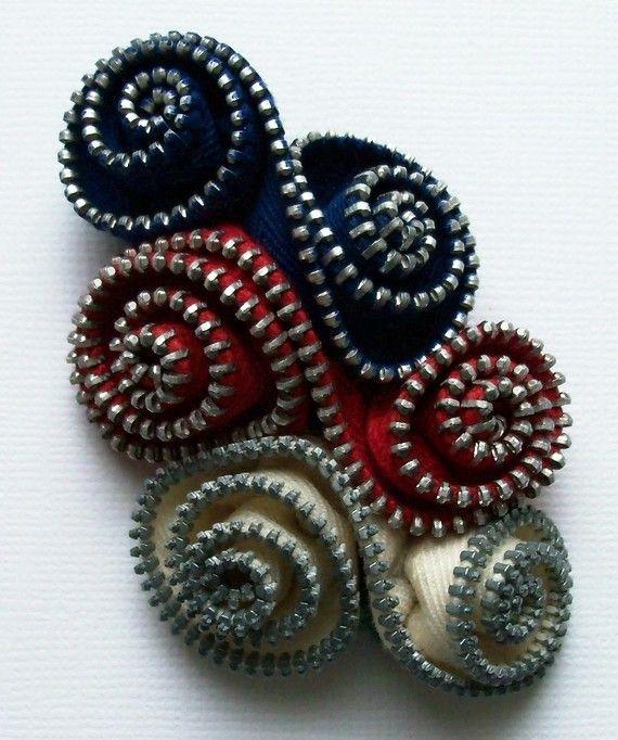Patritic Zipper Flower Brooch by Zip Pinning