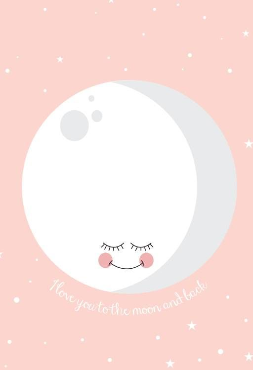 Eef Lillemor poster love you to the moon and back pink A3