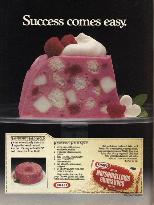 Love the inclusion of cubes of angel food cake in this lovely 1980s recipes for Raspberry Halo Jell-O.