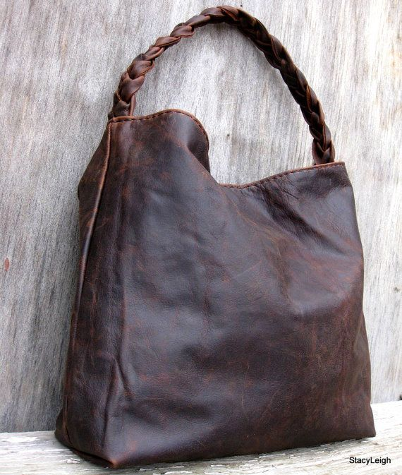 Brown Antiqued Leather Bag by Stacy Leigh RESERVED by stacyleigh