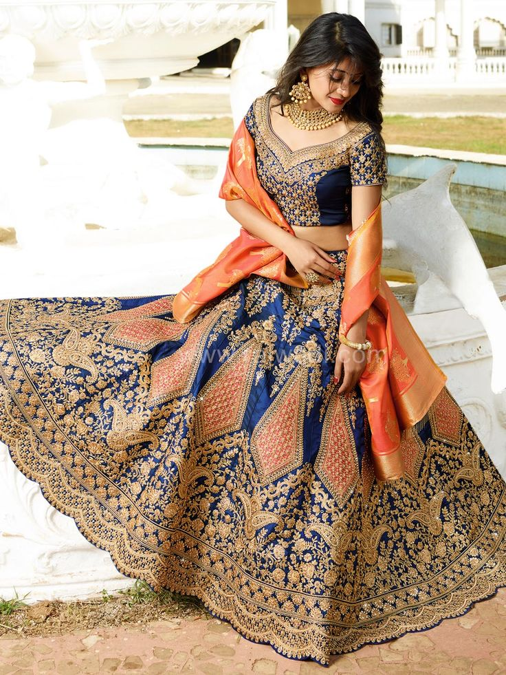 Blue and Dark Peach Color Lehenga Choli worn by Shivangi Joshi....  #shivangijoshi #rajwadi #lehengacholi #weddingseason #weddingdress #embroidery #lehenga #ethnicwear #bridalwear #designerwear #onlineshopping