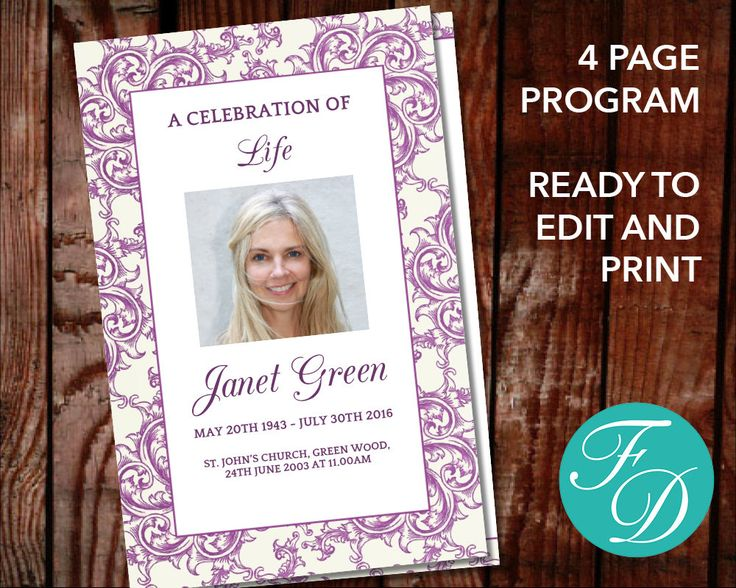 227 best Floral Funeral Program Templates images on Pinterest - funeral invitation template