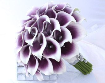 Purple Wedding Bouquet. Real Touch Picasso Cally Lily Bouquet. Elegant Purple Bridal Bouquet Real Touch Mini Calla Lillies