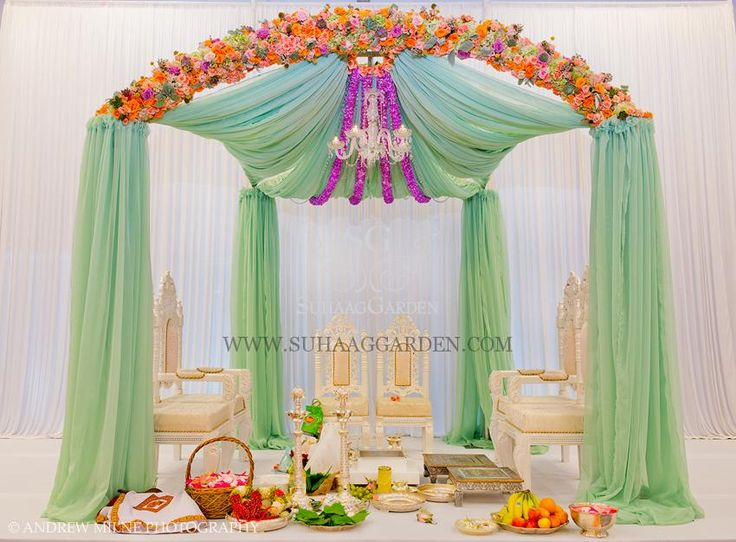 Suhaag Garden, Mint Green Chiffon Drapes, Florida Indian Wedding, California Indian Wedding, Miami, Fabric Mandap