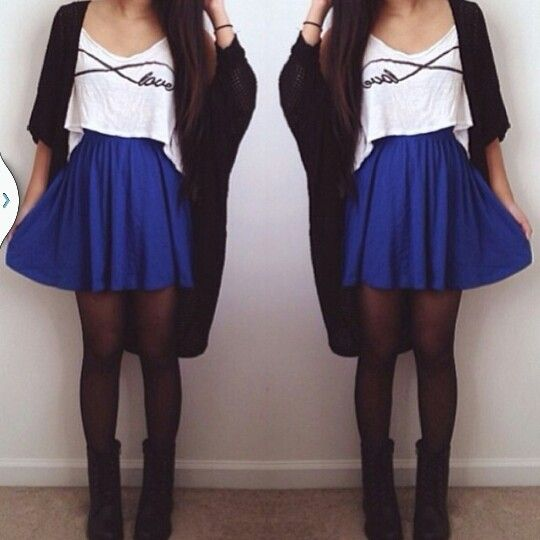 Blue skater skirt outfit ideas