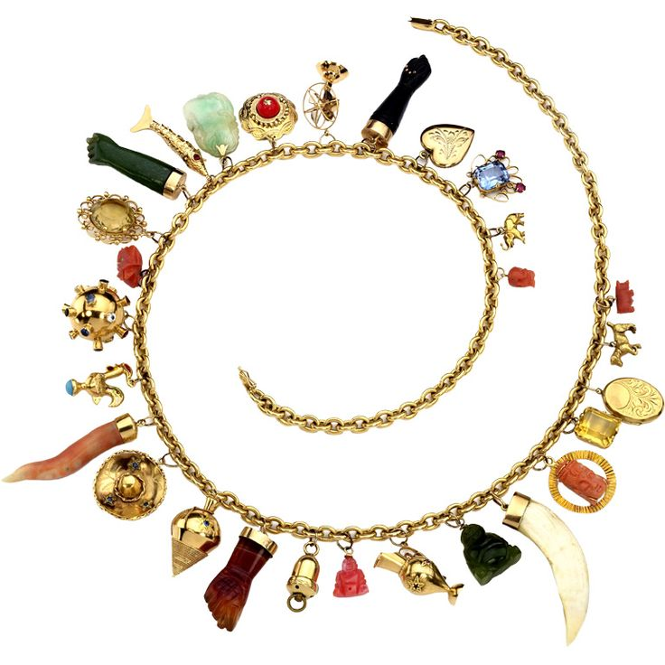 18K gold charm necklace with 18K and 14K gold charms - Connoisseur Antiques
