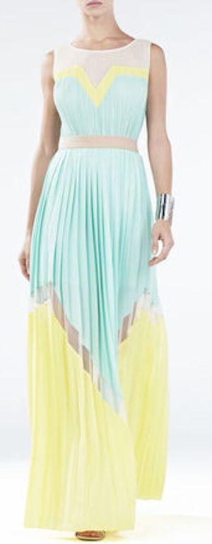 Long dress yellow aqua