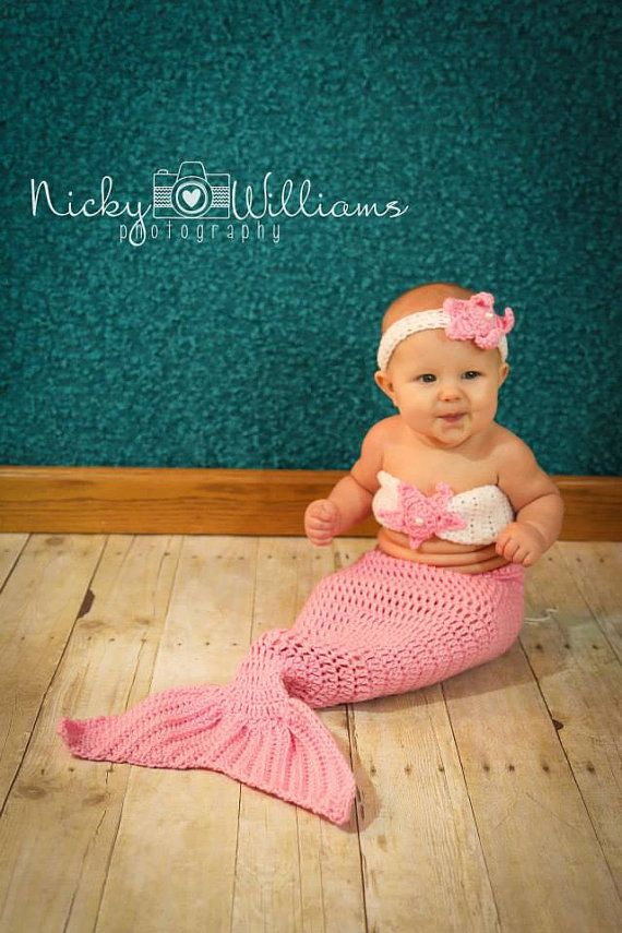 Crocheted Mermaid Outfit. Photo Prop. Hand Made. Preemie to Toddler Sizes. on Etsy, $32.00