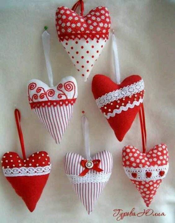 Pretty hearts super cute sewing pinterest navidad - Adornos navidad tela ...
