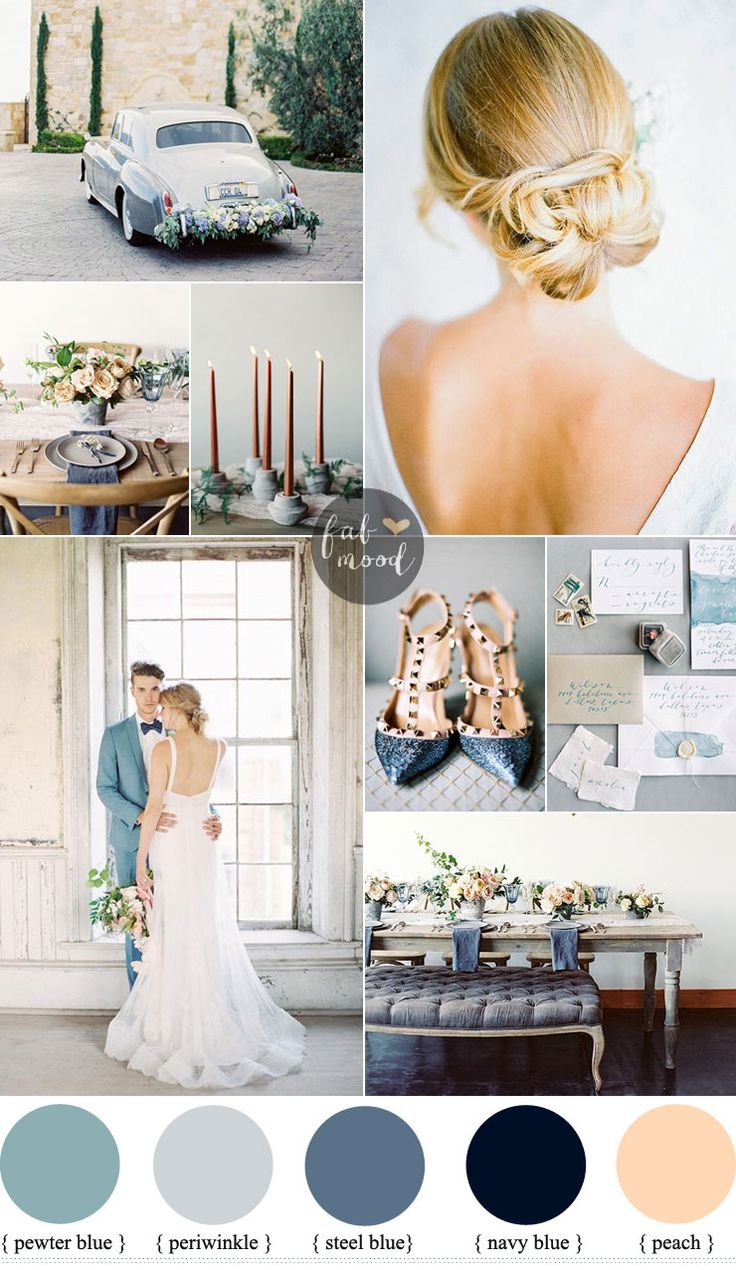 muted grey + peach and blue wedding palette | fabmood.com #grey #peach