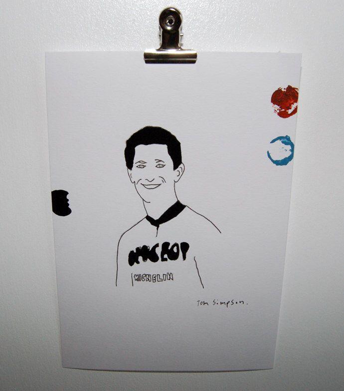 Tommy Simpson #1 originele tekening fietsen schilderij betaalbare kunst illustratie ingelijste fiets kunst papier potlood tekening afdrukken tour de france door Directorsportif op Etsy https://www.etsy.com/nl/listing/241042353/tommy-simpson-1-originele-tekening