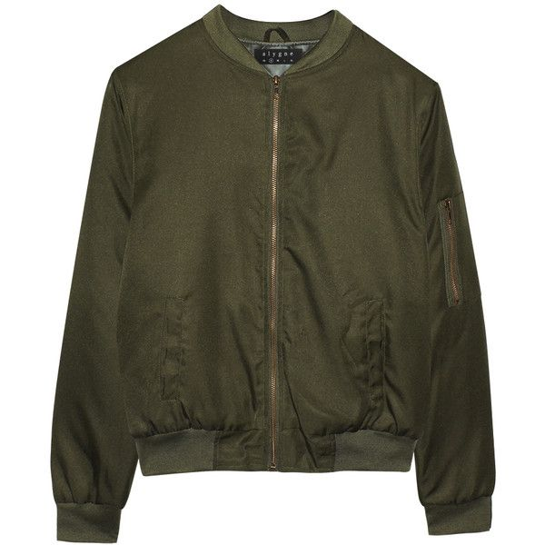 Alygne Olive Bomber Jacket (€37) ❤ liked on Polyvore featuring outerwear, jackets, bomber jackets, coats & jackets, zip bomber jacket, bomber style jacket, army green jackets, olive green jacket and bomber jacket
