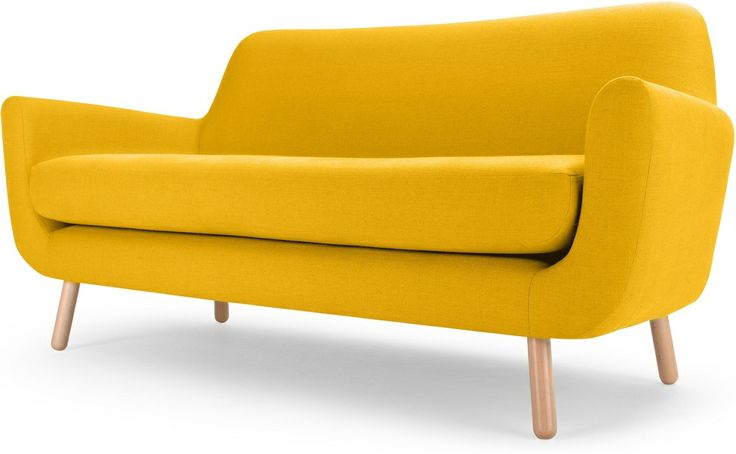 Modern Two Seater Sofa Design Wooden Leg Beautiful Yellow Sofas