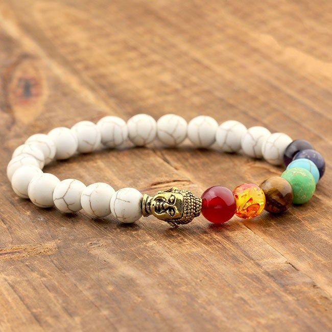 BW White Turquoise8mm Stone Beads 7 Chakra Healing Balance Buddha Bracelet