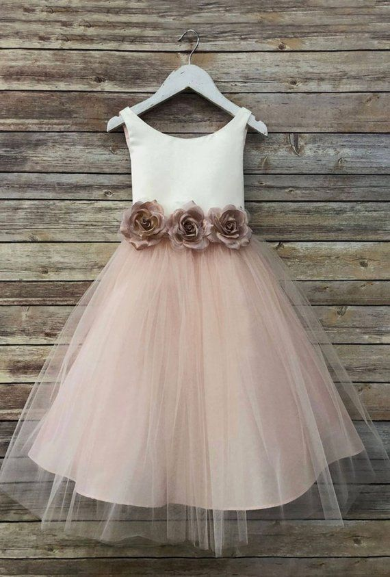 e9ac1b90d Ella Dress-two tone colored tulle dress with flower belt sash flower ...