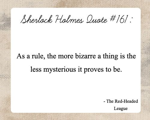 Sherlock Holmes Quote - The Red Headed League