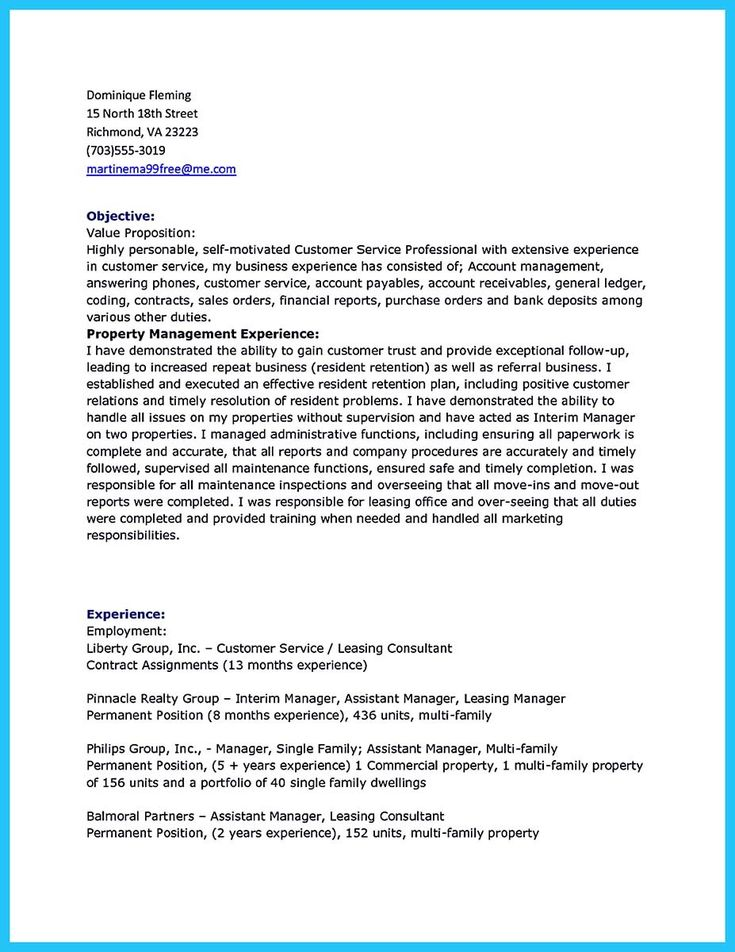 cool Writing a Great Assistant Property Manager Resume,