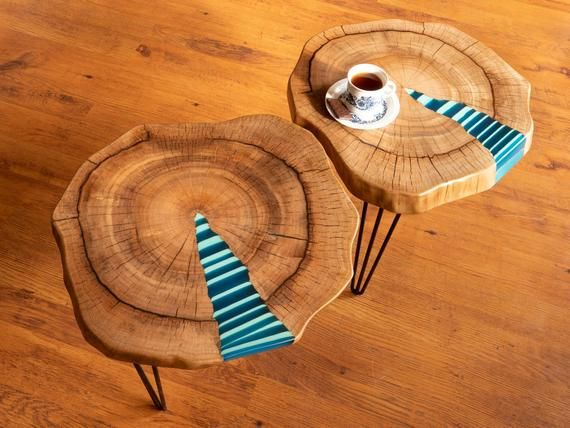 Zebra Twin Coffee Table With Glowing Resin Fillin En 2019