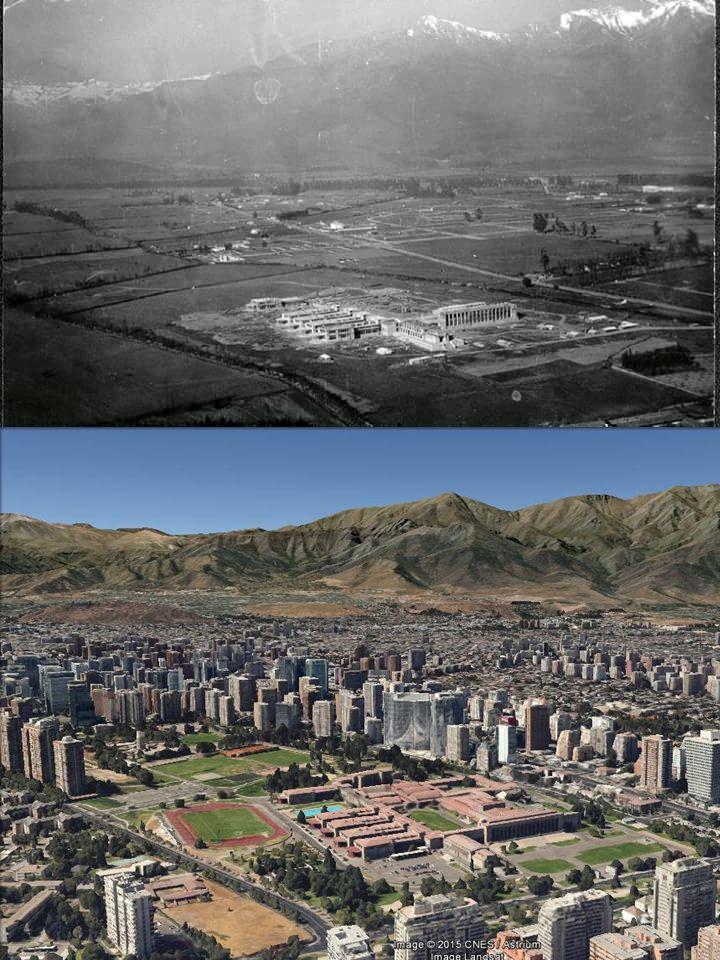 Comparación de la vista a la Escuela Militar, Apoquindo con Vespucio. Arriba año 1940, abajo año 2015.