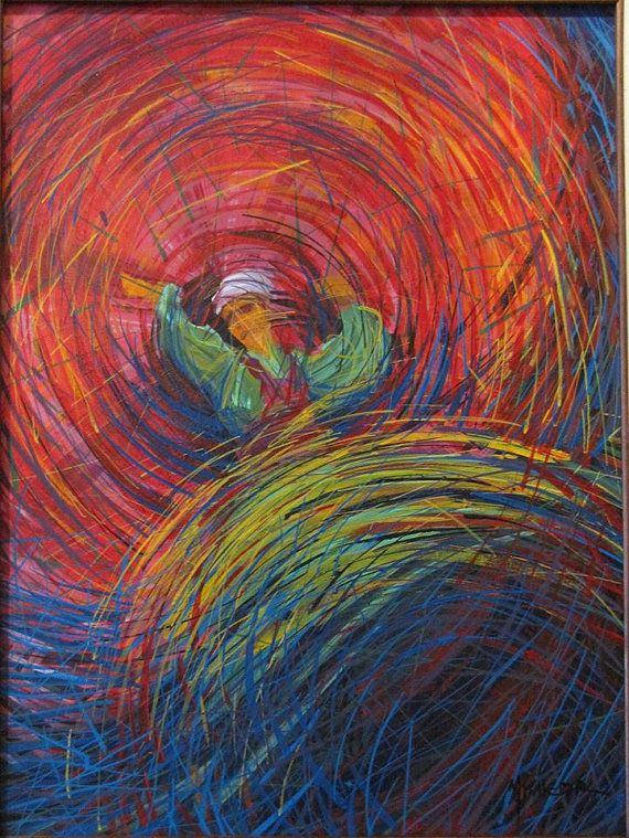 "Egyptian Sufi Tanoura Dervish Dance, Artist Mohamed Khedr. Acrylic on Canvas, 32"" x 40"", impressionist, expressionist, contemporary"