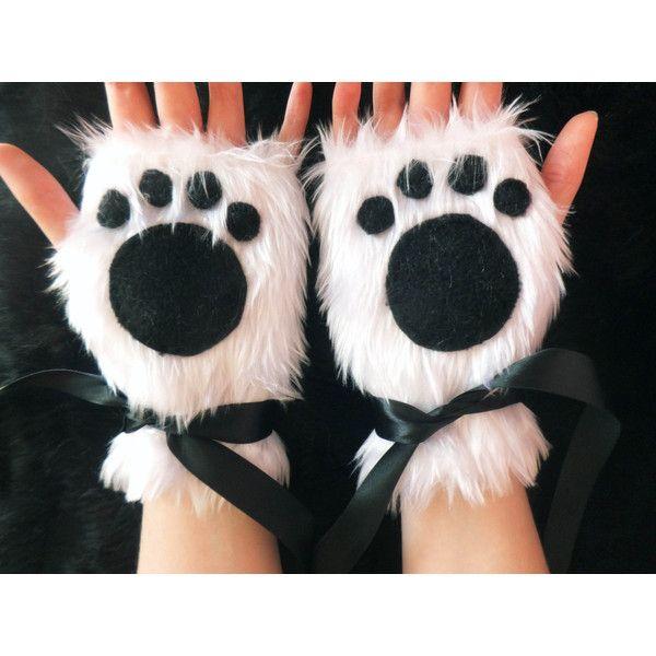 Cute White Furry Panda Polar Bear Arctic Cat Fox Wolf Paw Print... ($39) ❤ liked on Polyvore featuring accessories, gloves, fox gloves, white gloves, white fingerless gloves, panda gloves and bear gloves