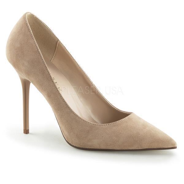 Pleaser High Heels CLASSIQUE-20, nude Velourleder, 10 cm Absatz, Gr. 43