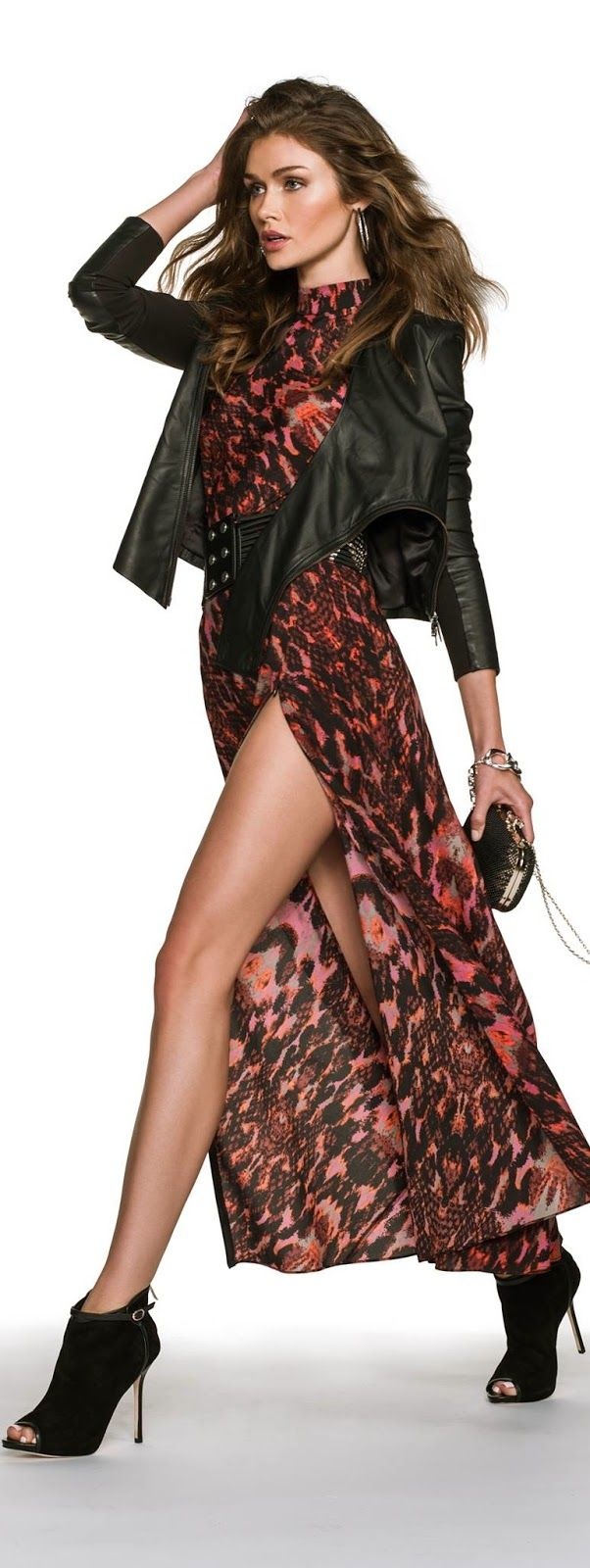 great spring dress & leather jacket
