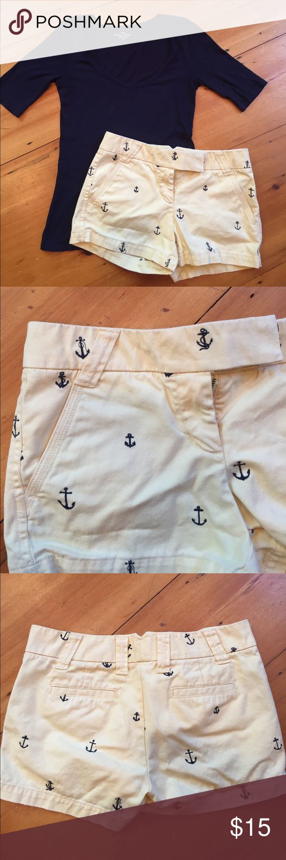 """J Crew Yellow Anchor Shorts J Crew size 0 yellow shorts 11"""" front length, 12"""" back length.  Missing one of the female hook pieces, but I wore them without this part J. Crew Shorts Bermudas"""