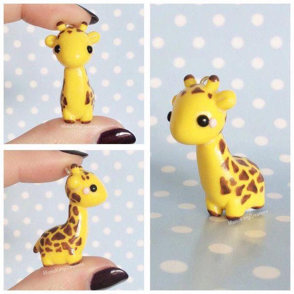 Kawaii Giraffe Charm, Polymer Clay Giraffe, Giraffe Figurine, Kawaii... ($10) ❤ liked on Polyvore