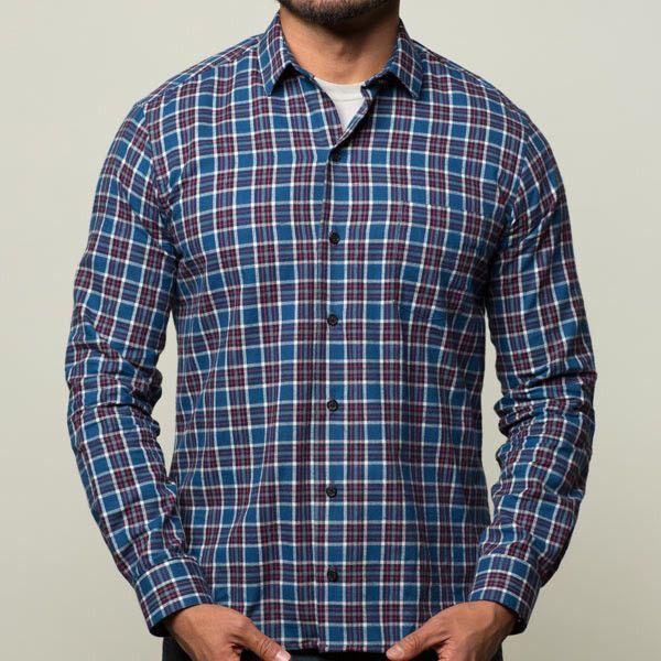 Blue, Red, White Plaid Flannel Shirt - Troy | Blade + Blue