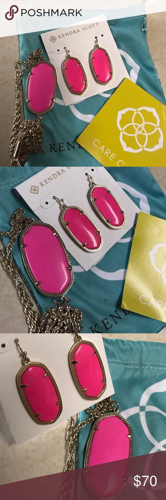 Kendra Scott neon Pink earrings Worn once. Magenta necklace is not for sale. Kendra Scott Jewelry Earrings