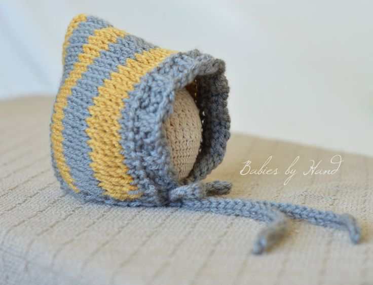 Ready to Ship Baby Winter Bonnet Grey Gold Baby di BabiesByHand, $20,00