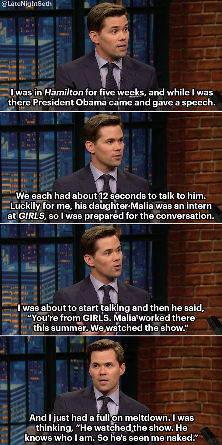 Andrew Rannells had an uncomfortable realization while meeting President Obama at Hamilton.