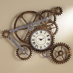 Gear Wall Art with Clock | World Market- above fireplace?