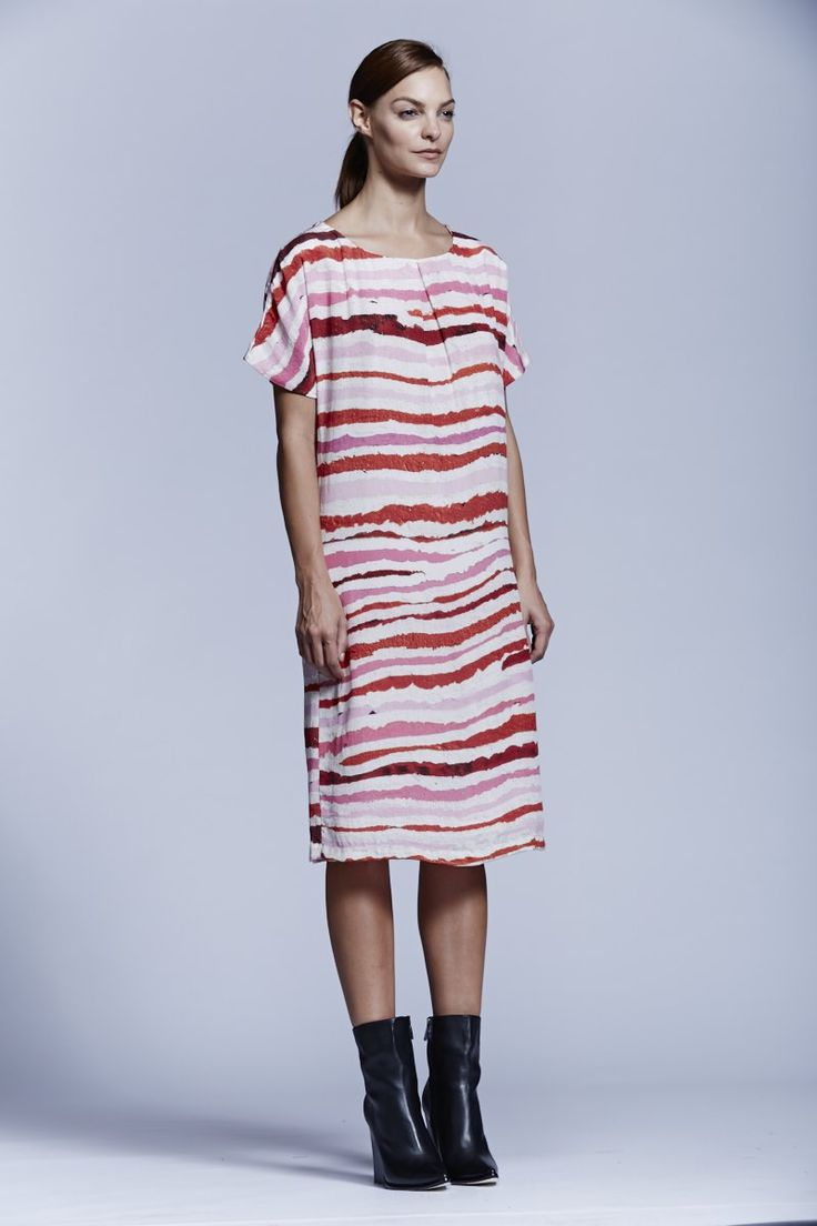 Stripe Silk Crepe Shift Dress. Roopa Pemmaraju Spring/Summer 2014/15, Urban Culture Collection. Artist: Pauline Gallagher