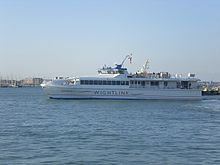 Isle of Wight - One of the Wightlink FastCats which provide a high-speed ferry service between Portsmouth and Ryde