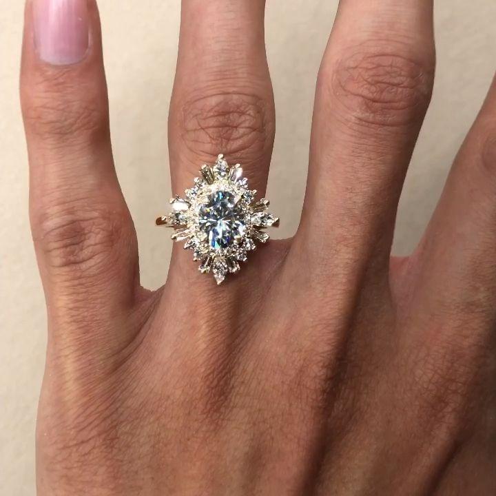 2 Carat Oval Moissanite & Diamond Vintage Style Halo Engagement Ring