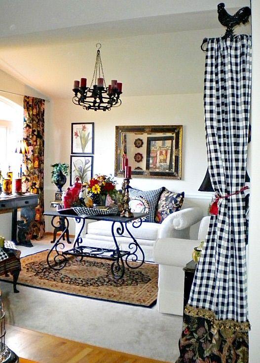 Checkered drapes and rug. Beautiful decorating.
