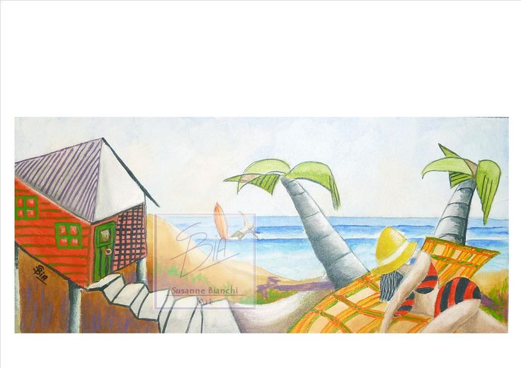 Day at the Beach Shack. Contemporary Image in cubist style, Fun Beach theme, Wall Art, Home Decor, Print of Original Painting, 3 Print Sizes by ArtiSueBee on Etsy