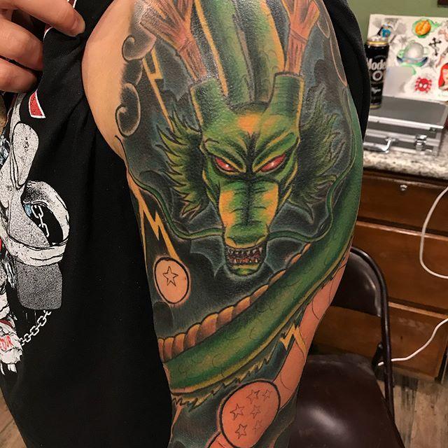 Shenron Tattoo Shenrontattoo Shenron Dragonballtattoo Dbztattoos Dragon Ball Tattoo Anime Tattoos Halo Tattoo