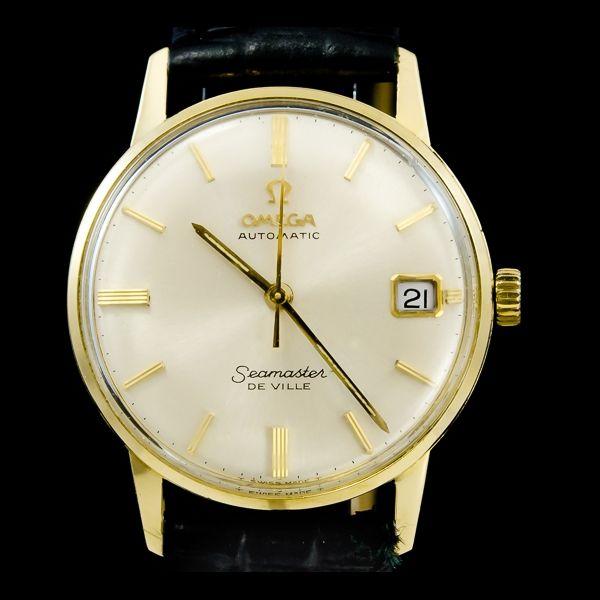 Omega-seamaster de ville avec date, or jaune 18k. Disponible immédiatement sur notre site: http://www.joaillerie-royale.com/114-montres-vintage