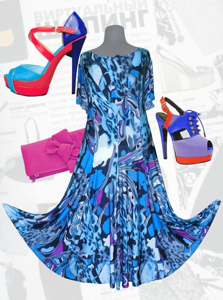 48$ Летнее трикотажное платье для полных девушек «Синий тигр» артикул 732, р50-64 Платья больших размеров  Платья в пол больших размеров  Летние платья больших размеров Платья макси больших размеров  Длинные платья больших размеров  Платья нарядные больших размеров  Дизайнерские платья больших размеров Красивые платья больших размеров  Модные платья больших размеров  Стильные платья больших размеров